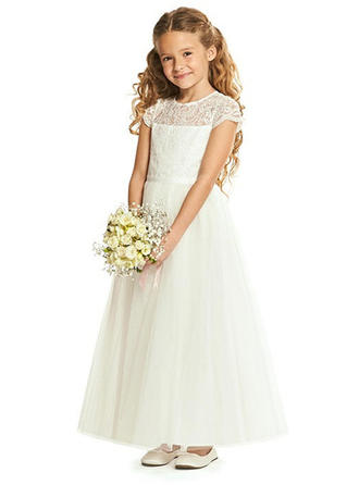 A-Line/Princess Scoop Neck Ankle-length Tulle Short Sleeves Flower Girl Dresses