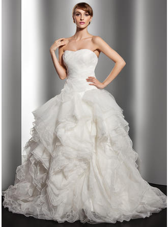 Ball-Gown Court Train Wedding Dress With Cascading Ruffles