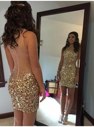 Beading Sequins Sheath/Column Short/Mini Tulle Homecoming Dresses