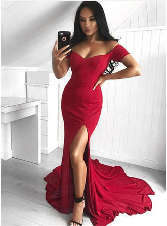 Trumpet/Mermaid Jersey Prom Dresses Chic Court Train Off-the-Shoulder Sleeveless