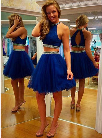 Tulle Sleeveless Detachable Scoop Neck Homecoming Dresses