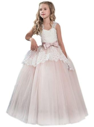 Ball Gown Sweetheart Floor-length With Bow(s) Tulle/Lace Flower Girl Dresses (010211805)