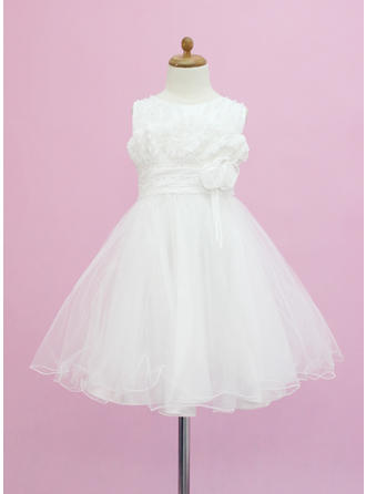 A-Line/Princess Scoop Neck Tea-length With Beading/Flower(s) Tulle Flower Girl Dress