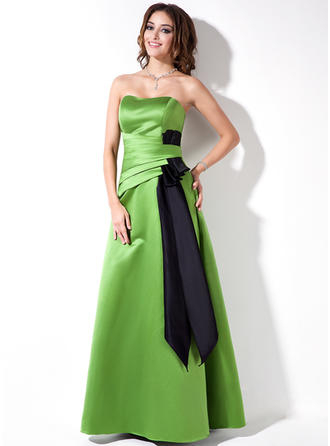 Satin Sleeveless A-Line/Princess Bridesmaid Dresses Sweetheart Ruffle Sash Floor-Length (007000882)