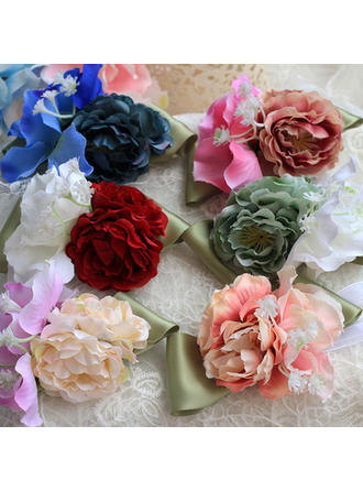 Wrist Corsage Round Wedding Satin The color of embellishments are shown as picture/Color & Style representation may vary by monitor Wedding Flowers