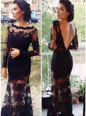 Princess Lace Evening Dresses Trumpet/Mermaid Sweep Train Scoop Neck Long Sleeves