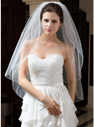 Waltz Bridal Veils Tulle Two-tier Classic With Pencil Edge Wedding Veils