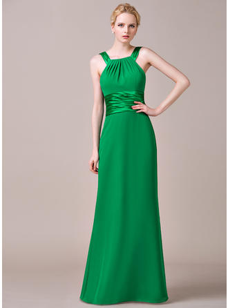 Chiffon Sleeveless Sheath/Column Bridesmaid Dresses Scoop Neck Ruffle Floor-Length
