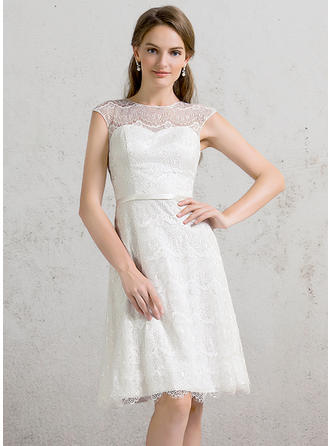 Scoop A-Line/Princess Wedding Dresses Lace Sleeveless Knee-Length