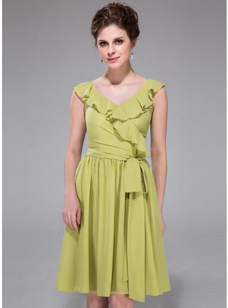 Chiffon Sleeveless A-Line/Princess Bridesmaid Dresses V-neck Bow(s) Cascading Ruffles Knee-Length
