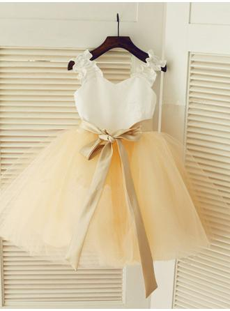 A-Line/Princess Straps Ankle-length With Sash Satin/Tulle Flower Girl Dresses (010211835)