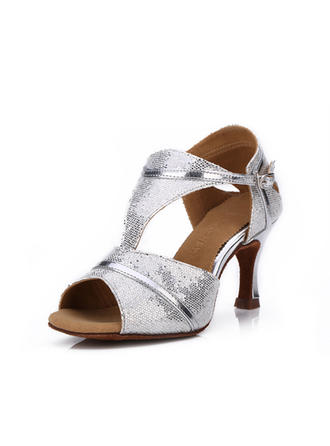 Women's Latin Heels Sandals Sparkling Glitter With Buckle  ...