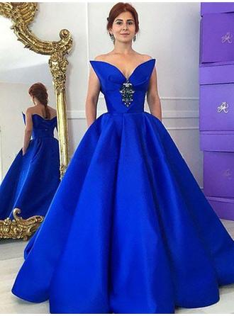 Taffeta Sleeveless Ball-Gown Prom Dresses V-neck Ruffle Beading Floor-Length