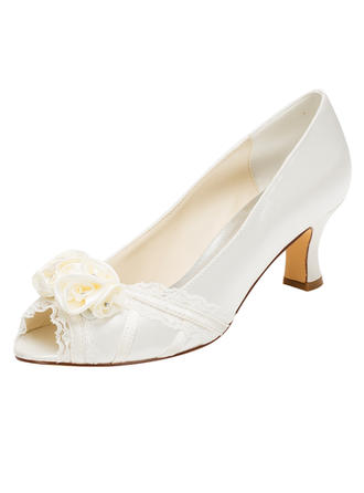 Women's Peep Toe Pumps Chunky Heel Silk Like Satin With Flower Wedding Shoes