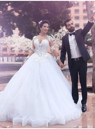 Luxurious Court Train Ball-Gown Wedding Dresses Scoop Tulle Long Sleeves