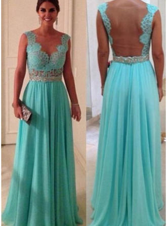 Chiffon Sleeveless A-Line/Princess Prom Dresses Scoop Neck Beading Appliques Lace Floor-Length (018146467)