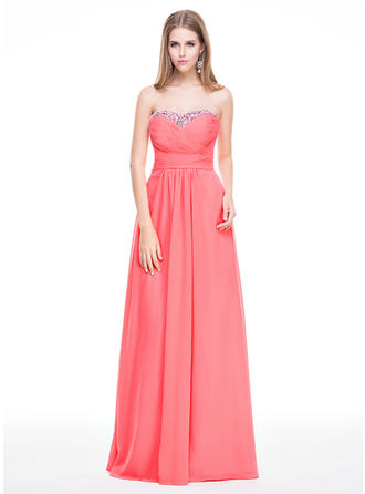 Chiffon Sleeveless A-Line/Princess Prom Dresses Sweetheart Ruffle Beading Sequins Floor-Length