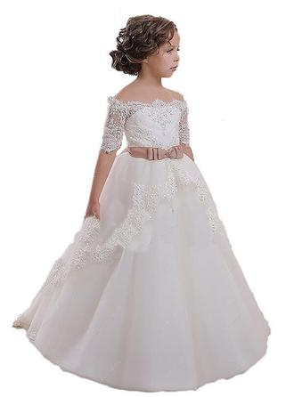 Ball Gown Off-the-Shoulder Sweep Train With Sash Tulle Flower Girl Dresses
