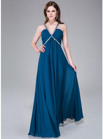 Empire Chiffon Prom Dresses Ruffle Beading V-neck Sleeveless Floor-Length