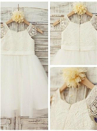 A-Line/Princess Scoop Neck Knee-length With Lace Lace Flower Girl Dresses