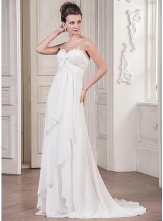 A-Line/Princess Sweetheart Sweep Train Chiffon Wedding Dress With Appliques Lace Cascading Ruffles