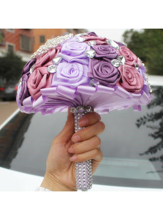 "Bridal Bouquets/Bridesmaid Bouquets Round Wedding/Party Satin 6.69""(Approx.17cm) Wedding Flowers"