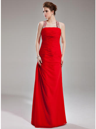 Sheath/Column Halter Floor-Length Evening Dresses With Ruffle Beading Sequins
