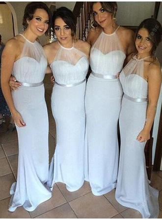 Tulle Jersey Sleeveless Trumpet/Mermaid Bridesmaid Dresses Scoop Neck Ruffle Sweep Train