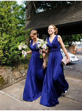 Satin Chiffon Sleeveless A-Line/Princess Bridesmaid Dresses V-neck Ruffle Floor-Length