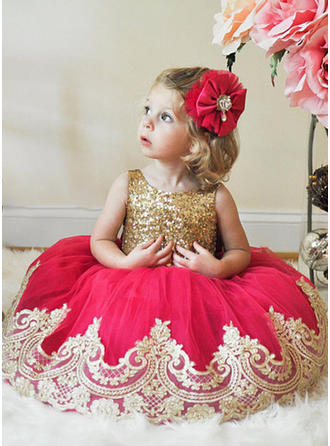 Scoop Neck A-Line/Princess Flower Girl Dresses Tulle/Sequined Sash Sleeveless Knee-length