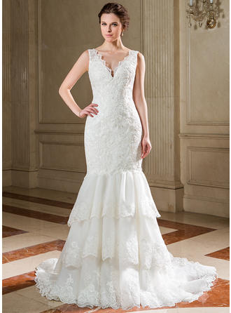 Princess Court Train Trumpet/Mermaid Wedding Dresses Sweetheart Organza Lace Sleeveless