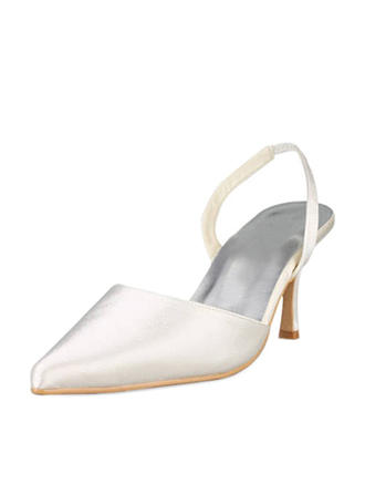 Women's Closed Toe Pumps Slingbacks Stiletto Heel Satin Wedding Shoes