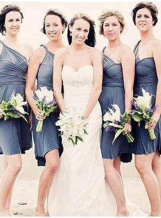 A-Line/Princess Chiffon Bridesmaid Dresses Ruffle One-Shoulder Sleeveless Short/Mini