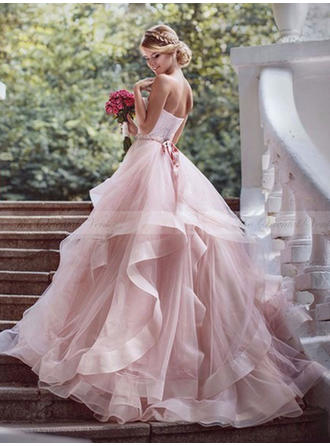 Ball-Gown Sweetheart Court Train Wedding Dress With Beading Cascading Ruffles