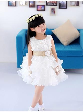 Forme Princesse Col rond avec Fleur(s) Sans manches Robe de demoiselle d'honneur - fillette