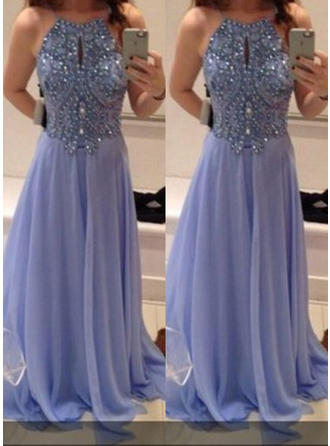 A-Line/Princess Chiffon 2019 New Scoop Neck Prom Dresses