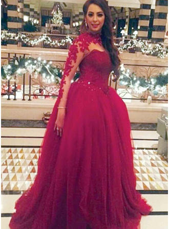 Tulle Long Sleeves Ball-Gown Prom Dresses Scoop Neck Appliques Lace Floor-Length