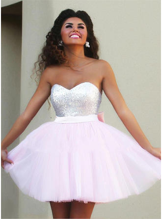 A-Line/Princess Sweetheart Tulle Sleeveless Short/Mini Bow(s) Cocktail Dresses