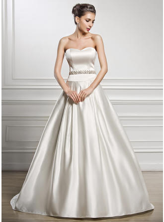 A-Line/Princess Sweetheart Court Train Wedding Dresses With Beading Sequins