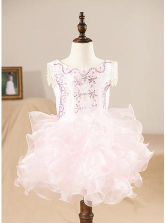 Vestidos princesa/ Formato A Coquetel Vestidos de Menina das Flores - Organza de Sem magas Decote redondo com Pregueado/Beading