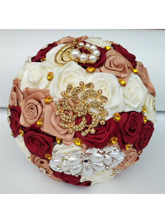 "Bridal Bouquets/Bridesmaid Bouquets/Flower Gifts Round Wedding/Party/Casual Satin 7.09""(Approx.18cm) Wedding Flowers"