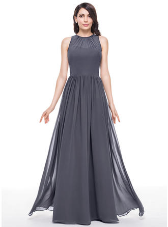 A-Line/Princess Scoop Neck Floor-Length Bridesmaid Dresses With Ruffle