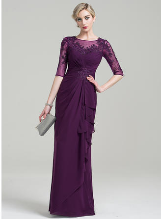 Sheath/Column Scoop Neck Floor-Length Chiffon Mother of the Bride Dress With Beading Appliques Lace Sequins Cascading Ruffles