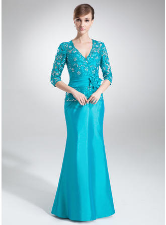 Trumpet/Mermaid V-neck Floor-Length Mother of the Bride Dresses With Lace Beading Flower(s) (008211201)