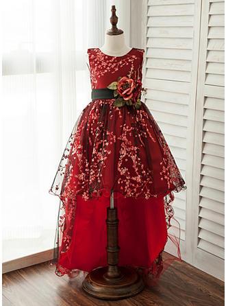 A-Line/Princess Knee-length/Asymmetrical Flower Girl Dress - Lace Sleeveless Scoop Neck