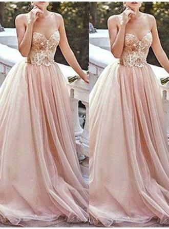 A-Line/Princess Sweetheart Sweep Train Tulle Prom Dress With Beading