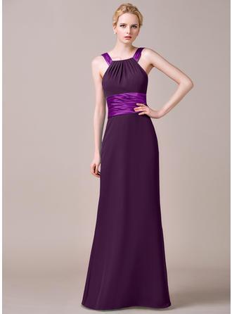 Chiffon Sleeveless Sheath/Column Bridesmaid Dresses Scoop Neck Ruffle Floor-Length