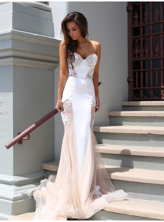 Stretch Crepe Sleeveless Trumpet/Mermaid Prom Dresses Strapless Lace Court Train (018144663)