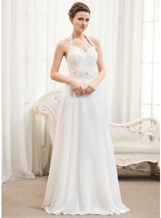Halter A-Line/Princess Wedding Dresses Chiffon Ruffle Beading Sequins Sleeveless Floor-Length