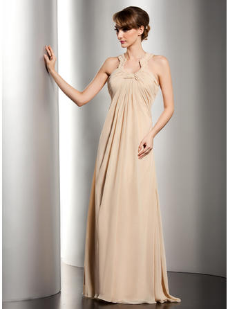 Empire Scoop Neck Chiffon Sleeveless Floor-Length Ruffle Beading Mother of the Bride Dresses